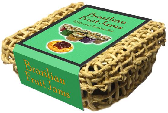 Basket with 12 Brazilian Fruit Jam jars