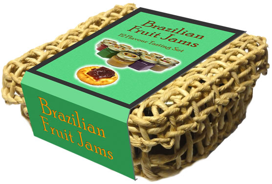 Basket with 12 Brazilian Fruit Jam jars